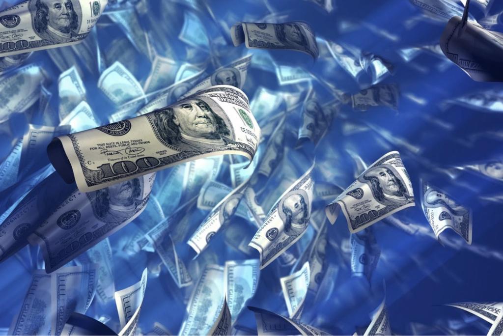 one hundred dollar bills in liquid