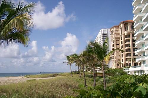 A beach in Boca Raton, Florida with buildings